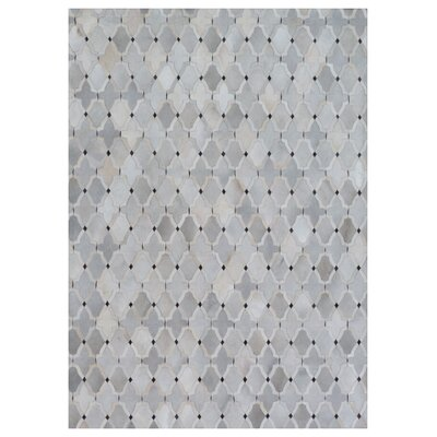 Natural Hide, Leather, Silver/Ivory/Gray/Multi (96x136) Area Rug Rug Size: 5 x 8