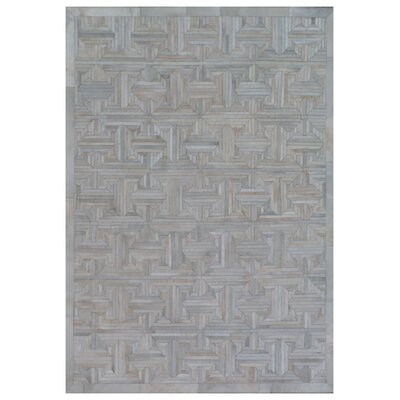 Natural Hide Leather Hand-Woven Gray Area Rug Rug Size: Rectangle 12 x 15