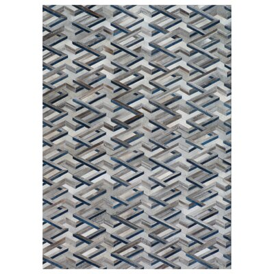 Natural Hide, Leather, Silver/Blue/Multi (8x11) Area Rug
