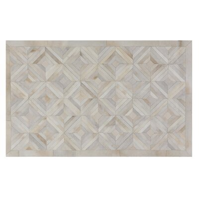 Natural Hide, Leather, Ivory/Natural/Multi (8x11) Area Rug Rug Size: 5 x 8