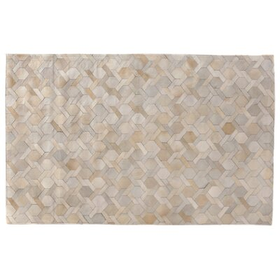 Natural Hide, Leather, Ivory/Multi (96x136) Area Rug Rug Size: 136 x 176