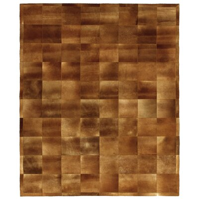 Natural Hide Leather Hand-Stitched Chocolate Area Rug