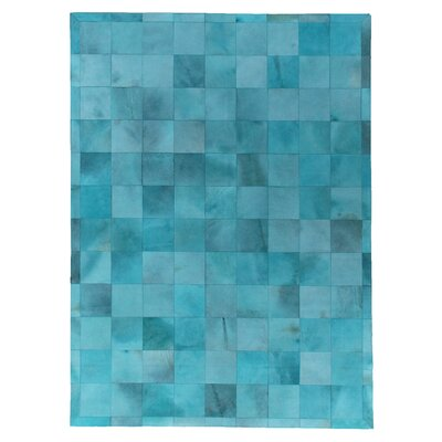 Natural Hide, Leather, Turquoise/Multi (8x11) Area Rug Rug Size: 116 x 146