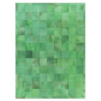 Natural Hide, Leather, Green/Multi (96x136) Area Rug Rug Size: 8 x 11