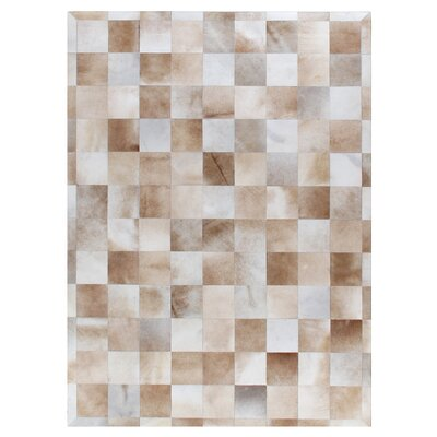 Natural Hide, Leather, Beige/Ivory/Multi (96x136) Area Rug Rug Size: Rectangle 5 x 8