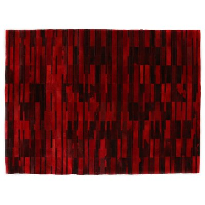 Natural Hide, Leather, Red/Black/Multi (8x11) Area Rug Rug Size: 8 x 11