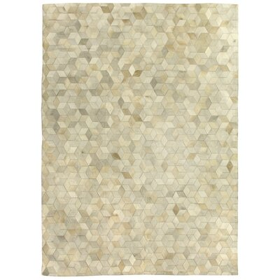 Natural Hide, Leather, Ivory/Multi (96x136) Area Rug Rug Size: 8 x 11