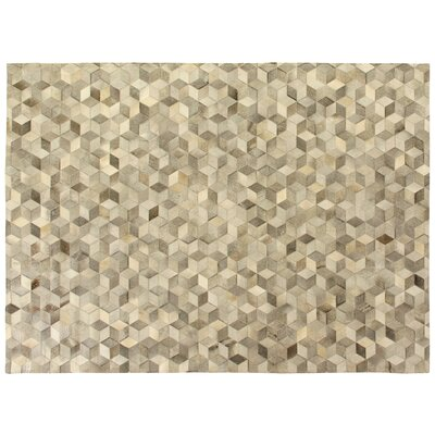 Natural Hide, Leather, Silver/Multi (96x136) Area Rug Rug Size: 5 x 8