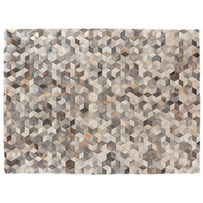 Natural Hide, Leather, Gray/Multi (96x136) Area Rug Rug Size: 8 x 11