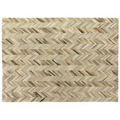 Natural Hide Hand-Tufted Cowhide Ivory/Brown Area Rug Rug Size: 96 x 136