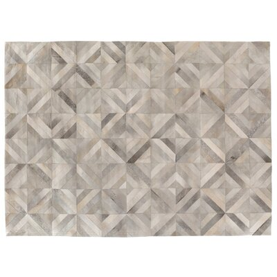 Natural Hide, Leather, Silver/Multi (96x136) Area Rug Rug Size: 116 x 146