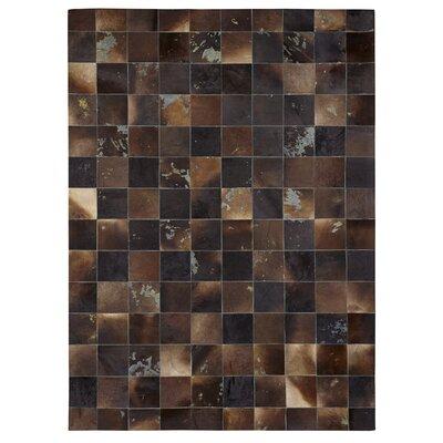 Natural Hide, Leather, Black/Brown Area Rug