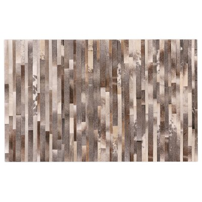 Natural Hide Hand-Tufted Cowhide Silver/Brown/Ivory Area Rug