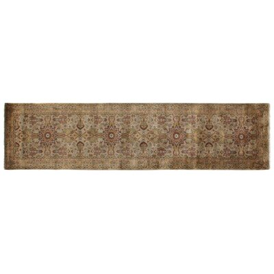 Agra Hand-Knotted Wool Gold/Ivory Area Rug Rug Size: Runner 26 x 10