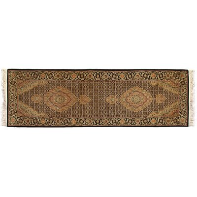 Bijar Hand-Knotted Wool Ivory/Black Area Rug