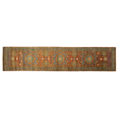 Mamluk Hand-Knotted Wool Rust/Green Area Rug Rug Size: Runner 26 x 8