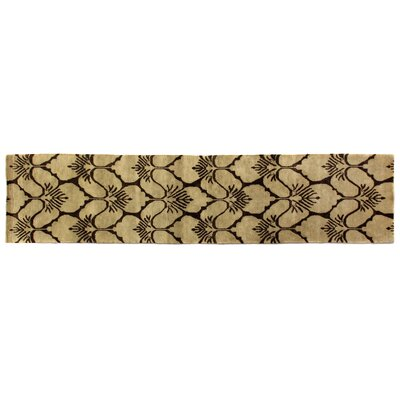 Metropolitan, New Zealand Wool, Brown/Ivory, (26x12) Runner Rug Size: Runner 26 x 12