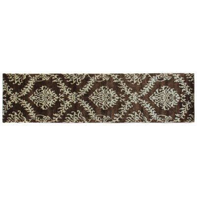 Metropolitan Hand-Knotted Wool Brown/Light Blue Area Rug Rug Size: Runner 26 x 12