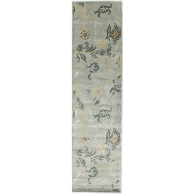 Super Tibetan, New Zealand Wool/Silk, Light Blue, (26x8) Runner Rug Size: Runner 26 x 10