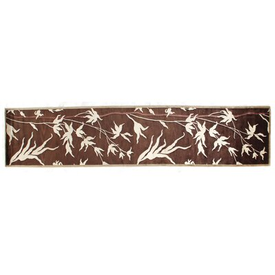 Milano Hand-Knotted Wool Chocolate/Beige Area Rug Rug Size: Runner 26 x 12