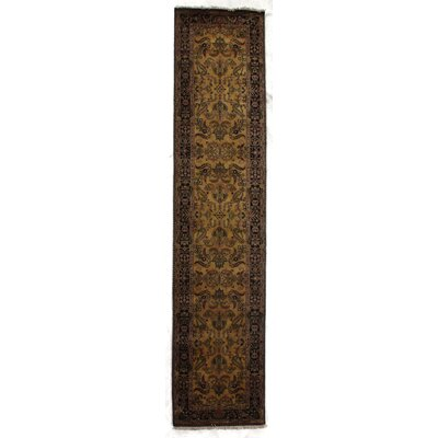 Mohajeran Sarouk, New Zealand Wool, Gold/Black (26x8) Runner Rug Size: Runner 26 x 8