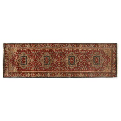 Serapi Hand-Knotted Wool Red Area Rug Rug Size: Runner 26 x 8