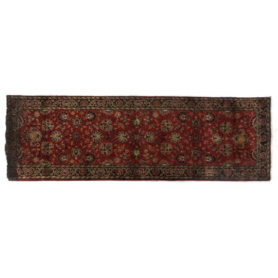 Super Mashad Hand-Knotted Wool Black/Cream Area Rug Rug Size: Runner 26 x 10