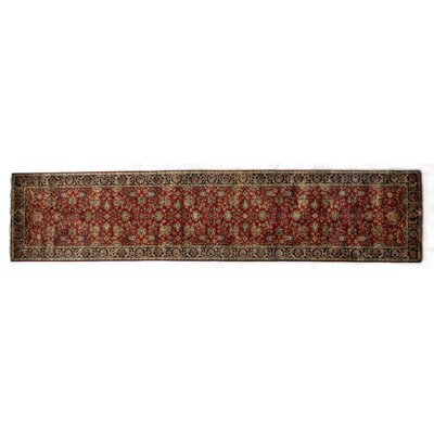 Super Mashad Hand-Knotted Wool Black/Cream Area Rug Rug Size: Runner 26 x 12
