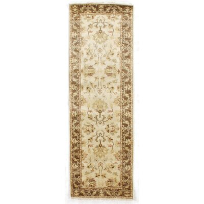 Ziegler Hand-Knotted Wool Ivory/Brown Area Rug Rug Size: Runner 26 x 10