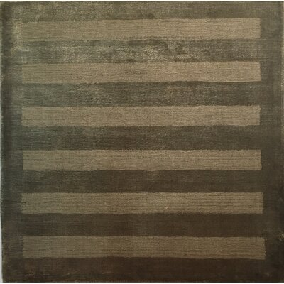 Wide Stripe Panel Dark Beige Area Rug