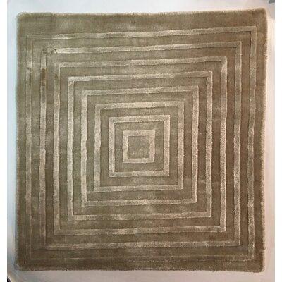 Embossed, Art Silk, Light Beige, (3 Square) Rug