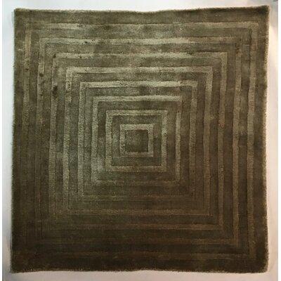 Embossed, Art Silk, Khaki, (3 Square) Rug
