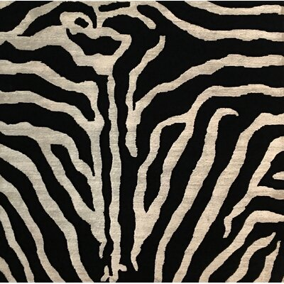Metro-Velvet, New Zealand Wool/Bamboo Silk, Black/White (3 Square) Rug