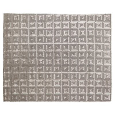 Greek Key Greco Hand-Knotted Wool Silver Area Rug Rug Size: 6 x 9