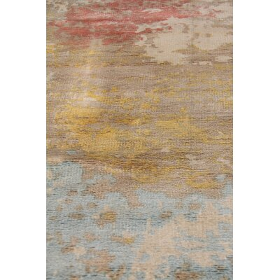 Carrera Hand Woven Silk Sky Blue/Gold Area Rug Rug Size: Rectangle 9 x 12