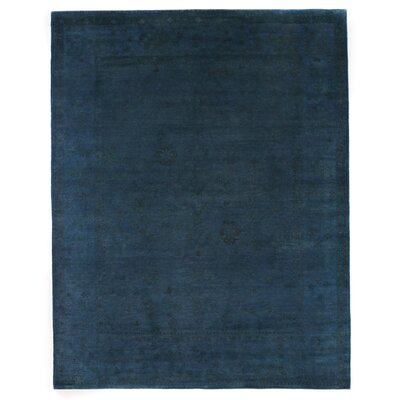 Overdyed Hand Woven Wool Blue Area Rug
