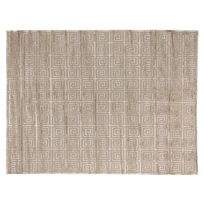 Greco Hand Woven Silk Beige Area Rug Rug Size: Rectangle 14 x 18