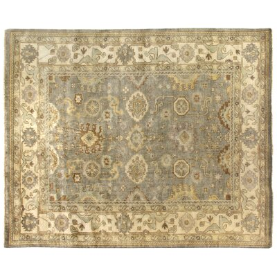 Oushak Hand Woven Wool Light Blue/Ivory Area Rug Rug Size: Rectangle 4 x 6