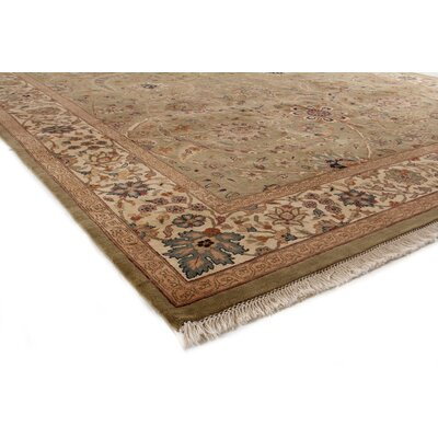 Traditional Hand Woven Wool Light Green/Gold Area Rug Rug Size: Rectangle 8 x 10