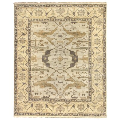 Oushak Hand Woven Wool Powder Blue/Beige Area Rug Rug Size: Rectangle 8 x 10