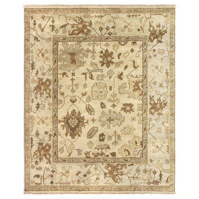 Oushak Hand Woven Wool Ivory/Pale Blue Area Rug Rug Size: Rectangle 9 x 12