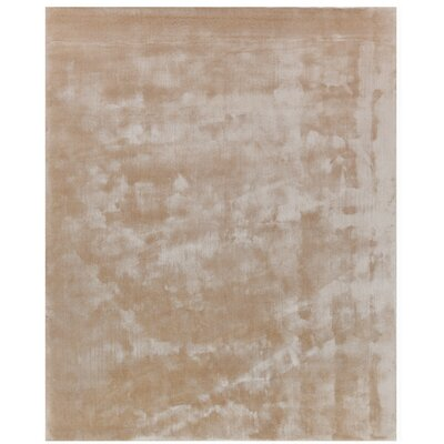 Hand Woven Silk Light Beige Area Rug Rug Size: Rectangle 8 x 10