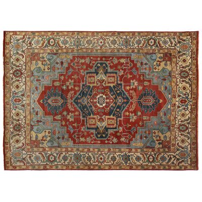 Serapi Hand-Knotted Wool Dark Red Area Rug Rug Size: Rectangle 14 x 18