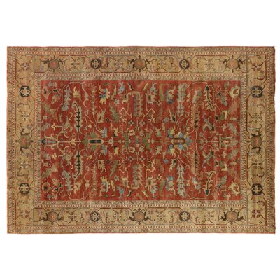 Serapi Hand Woven Wool Rust/Gold Area Rug Rug Size: Rectangle 14 x 18