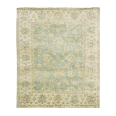 Oushak Hand Woven Wool Light Blue/Ivory Area Rug Rug Size: Rectangle 10 x 14