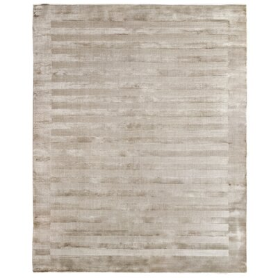 Panel Stripes Hand Woven Silk Light Beige Area Rug Rug Size: Rectangle 14 x 18
