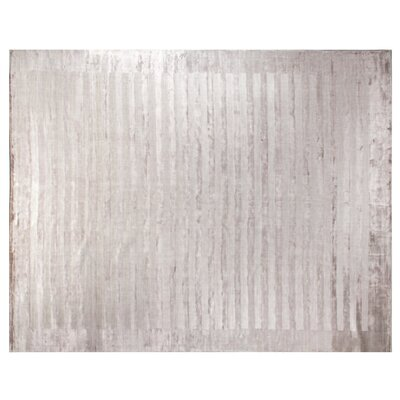 Panel Stripes Hand Woven Silk Silver Area Rug Rug Size: Rectangle 14 x 18