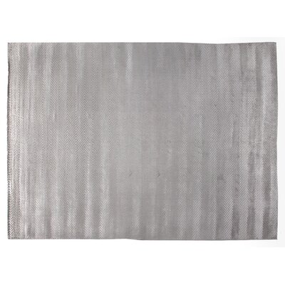 Herringbone Hand Woven Silk Silver Area Rug Rug Size: Rectangle 9 x 12