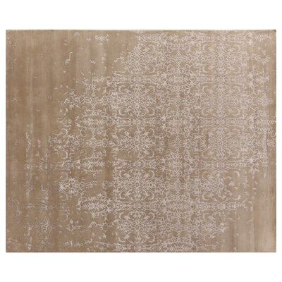 Hand Woven Silk Light Beige Area Rug
