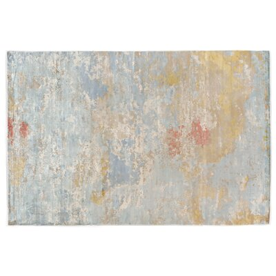 Carrera Hand Woven Silk Sky Blue/Gold Area Rug Rug Size: Rectangle 10 x 14